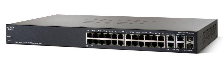 24-port 10/100 + 4-Port Gbit - SRW224G4-K9 (SF300-24)